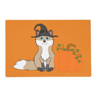 White & Tan Fox with Halloween Pumpkin Laminated Place Mat