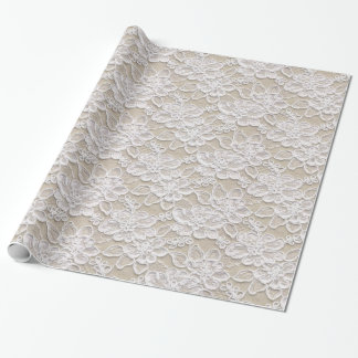 White & Tan Lace Texture Wrapping Paper