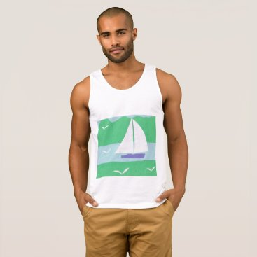 Beach Themed White Tank Top with Sailboat