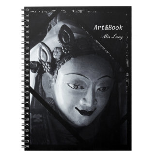 White Tara, Buddhism, Tibet in BW (Notebook) Spiral Notebook