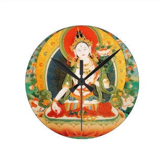 WHITE TARA BUDDHIST DEITY ROUND CLOCK