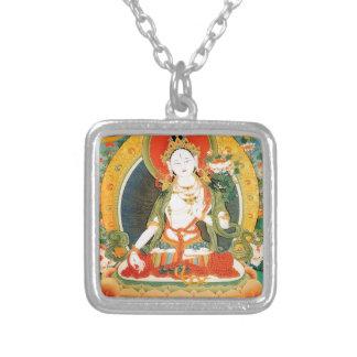 WHITE TARA BUDDHIST DEITY SQUARE PENDANT NECKLACE