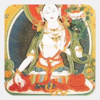 WHITE TARA BUDDHIST DEITY SQUARE STICKER