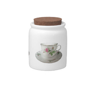 White Teacup and Saucer with PinkRoses Sugar Jar Candy Jar