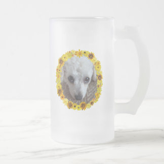White Teacup Poodle Dog Daisies 16 Oz Frosted Glass Beer Mug