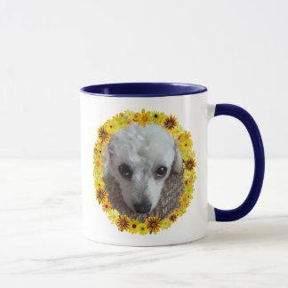 White Teacup Poodle Dog Daisies Mug