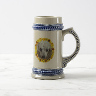 White Teacup Poodle Dog Daisies 18 Oz Beer Stein