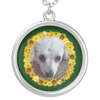 White Teacup Poodle Dog Daisies Round Pendant Necklace