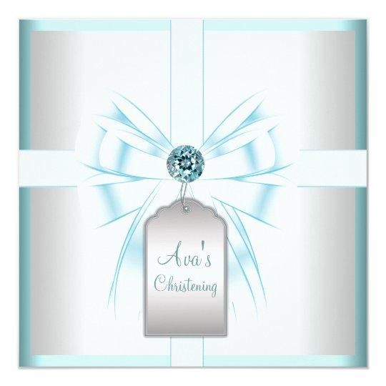 White Teal Blue Baby Baptism Christening Card