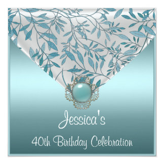 White Teal Blue Floral Jewel 40th Birthday Card