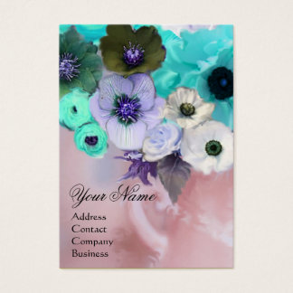 WHITE TEAL BLUE ROSES AND ANEMONE FLOWERS MONOGRAM BUSINESS CARD