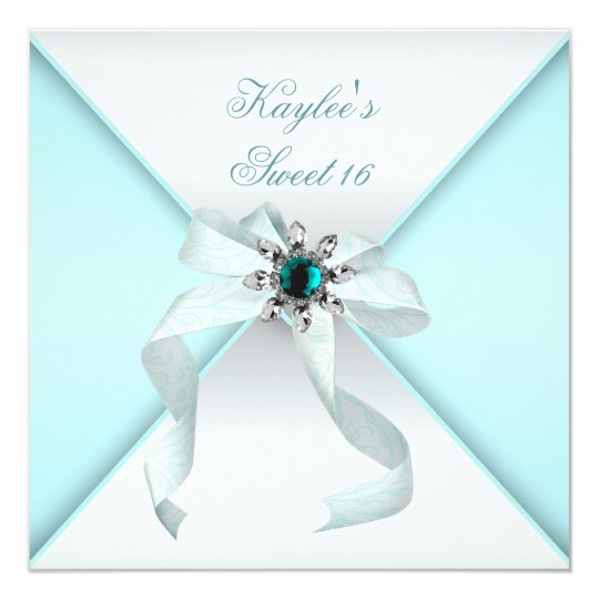 White Teal Blue Sweet 16 Party Card