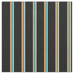 [ Thumbnail: White, Teal, Brown, and Black Lines Fabric ]