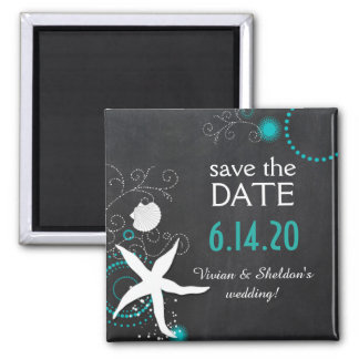 White Teal Chalkboard Beach Wedding Save the Date 2 Inch Square Magnet