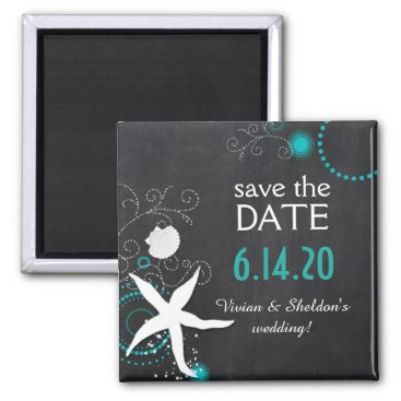 Beach Themed White Teal Chalkboard Beach Wedding Save the Date Magnet