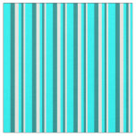[ Thumbnail: White, Teal & Cyan Colored Stripes/Lines Pattern Fabric ]