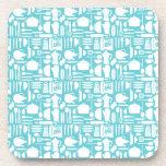 White Teal Kitchen Things Beverage Coaster