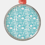 White Teal Kitchen Things Ornaments