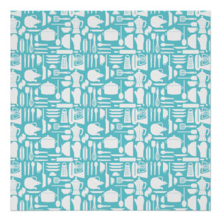 White Teal Kitchen Things Poster
