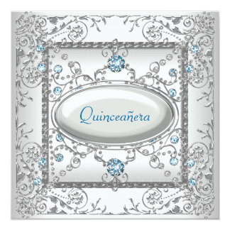 White Teal Quinceanera Card