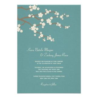 White Teal Sakura Cherry Blossoms Wedding Invite Custom Invites