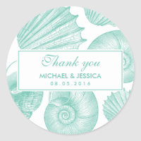 White Teal Seashell Wedding Thank You Sticker
