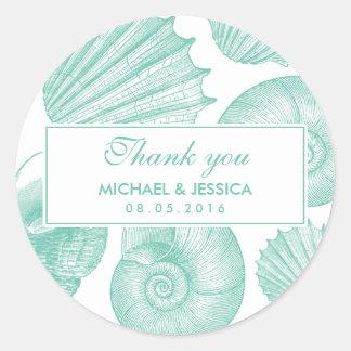 White Teal Seashell Wedding Thank You Sticker