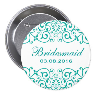 White Teal Victorian Floral Bridesmaid Button