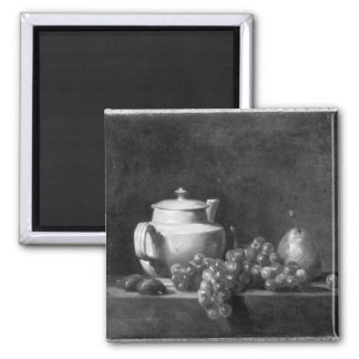 White Teapot with Two Chestnuts 2 Inch Square Magnet