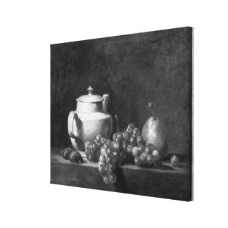 White Teapot with Two Chestnuts Canvas Print