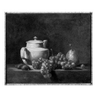 White Teapot with Two Chestnuts Poster