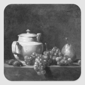 White Teapot with Two Chestnuts Square Sticker