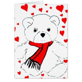 White Teddy Bear and Hearts card