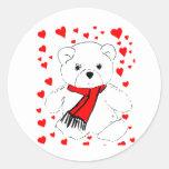 White Teddy Bear and Hearts Round Sticker