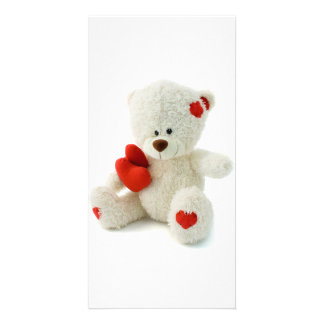 White Teddy bear holding a red heart Card