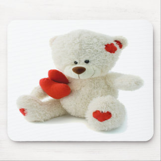 White Teddy bear holding a red heart Mouse Pad