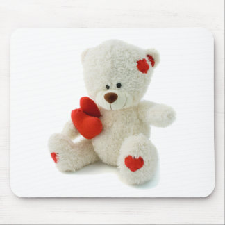 White Teddy bear holding a red heart Mousepad