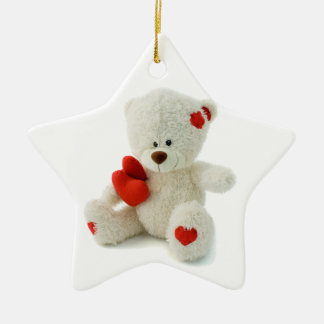 White Teddy bear holding a red heart Double-Sided Star Ceramic Christmas Ornament