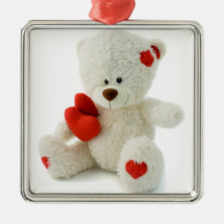 White Teddy bear holding a red heart Square Metal Christmas Ornament