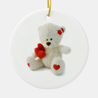 White Teddy bear holding a red heart Double-Sided Ceramic Round Christmas Ornament