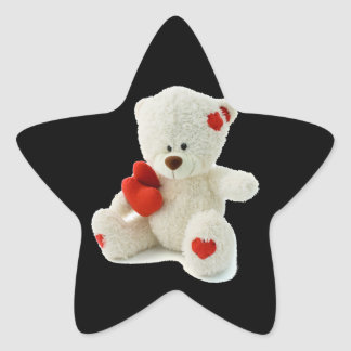 White Teddy bear holding a red heart Star Sticker