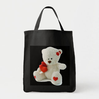 White Teddy bear holding a red heart Tote Bag