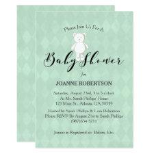 White Teddy Bear Sage Green Diamond Baby Shower Card