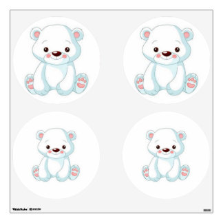 White Teddy Bear Wall Decal