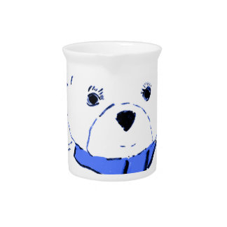 White Teddy Bear with Bright Blue Hearts Beverage Pitcher