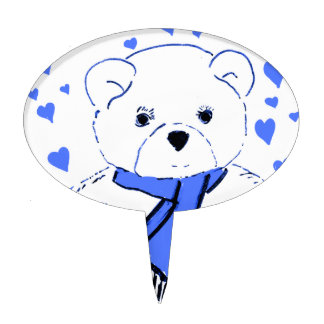 White Teddy Bear with Bright Blue Hearts Cake Topper