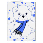 White Teddy Bear with Bright Blue Hearts Greeting Card