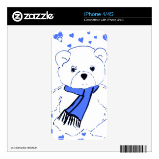 White Teddy Bear with Bright Blue Hearts Decals For The iPhone 4S