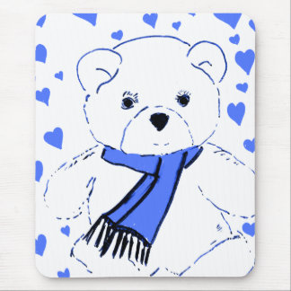 White Teddy Bear with Bright Blue Hearts Mouse Pad