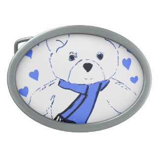 White Teddy Bear with Bright Blue Hearts Oval Belt Buckle